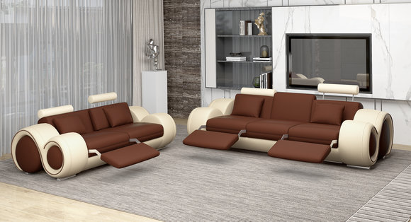 Sofagarnitur Design Couch 3+2 Set Polster Leder Sofa Wohnzimmer Garnituren  4008