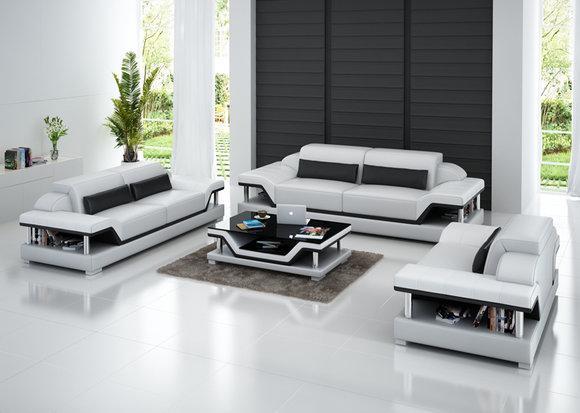 Ledersofa Couch Wohnlandschaft 3 2 1 Sitzer Garnitur Design Sofa