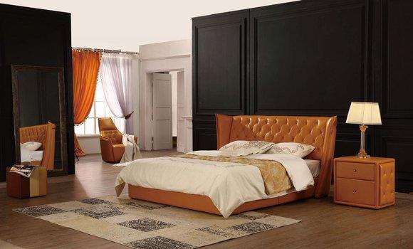 Designer Doppelbett Bett Betten Leder Chesterfield Hotel Luxus Schlafzimmer  Neu