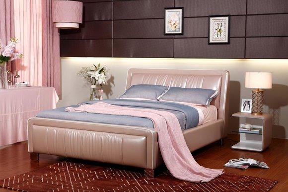 Designer Doppelbett Bett Betten Schlafzimmer Leder Hotel Luxus Polster 160  180cm