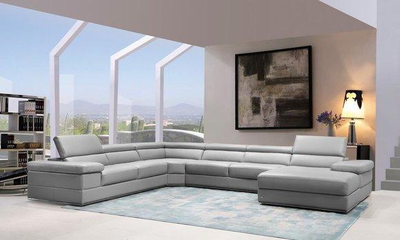 Ledersofa Couch Wohnlandschaft Ecksofa Eck Garnitur Design Modern Sofa 1530B