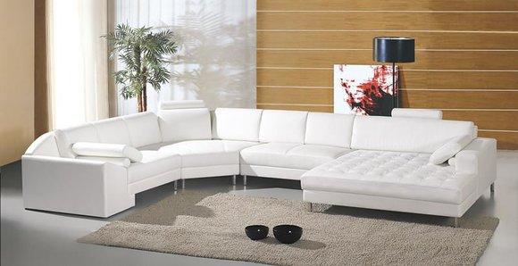 Moderne Wohnlandschaft Mit Chesterfield Knopfen Ledersofa Sofa Couch