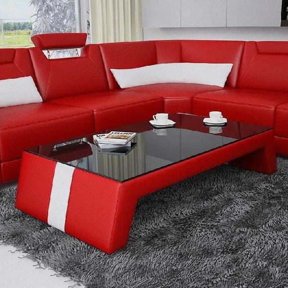 Moderner Wohnzimmer Couchtisch Tisch Beistell Glas Polster Leder ...