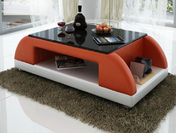 Modern Couch Polster Leder Tisch Wohnzimmer Beistell Glas Tische