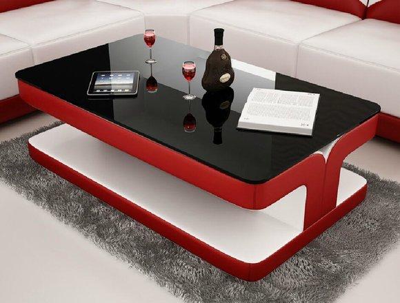 Sofatisch Design Wohnzimmer Leder Kaffee Glas Couch Polster Beistell Tisch Rot