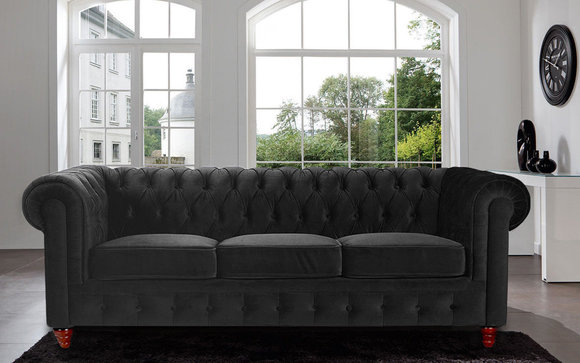 Chesterfield Design Luxus Polster Sofa Couch Sitz Garnitur Leder
