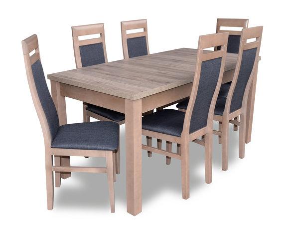 Esstisch Garnitur Tisch + 6x Stühle Stuhl Esszimmer Garnitur Tisch Holz  Textil