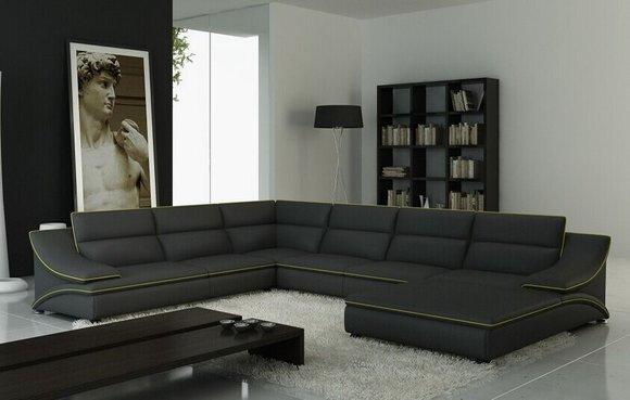 Ledersofa Couch Wohnlandschaft Ecksofa Eck Garnitur Design Modern Sofa A1160B