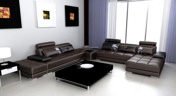 Ecksofa Sofa Couch Wohnlandschaft Ledersofa XXL Designer Sofas Wolfhagen S/B