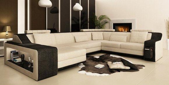 Moderne Wohnlandschaft Polster Ecksofa Sofa Couch Eck Garnitur Textil Sofas Neu