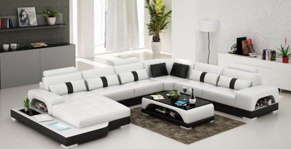 Ecksofa Polster Couch Sofa Wohnlandschaft Sitz Eck Garnitur Leder Textil Senden