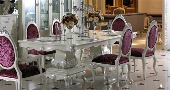 4 Stühle Set Esszimmer Designer Holz Stuhl Garnitur Antik Stil Barock Rokoko E36