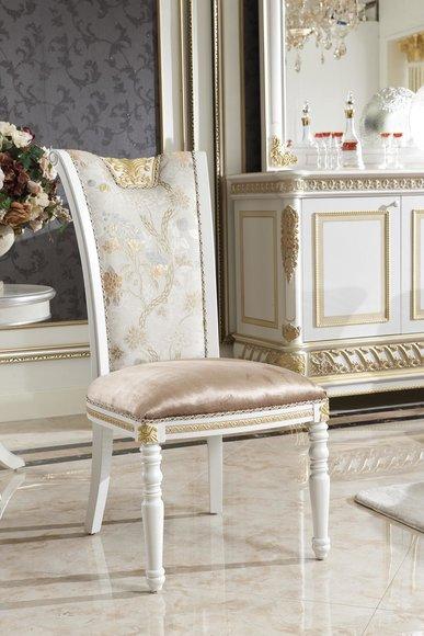 4 Stühle Set Designer Esszimmer Holz Stuhl Garnitur E62 Antik Stil Barock Rokoko