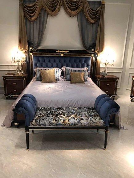 Königliches Designer Bett + 2x Nachttische + Bank Schlafzimmer Set Garnitur  Neu