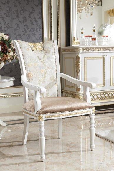 1x Stuhl Tron Sessel Set Esszimmer Designer Holz Antik Stil Barock Rokoko E62