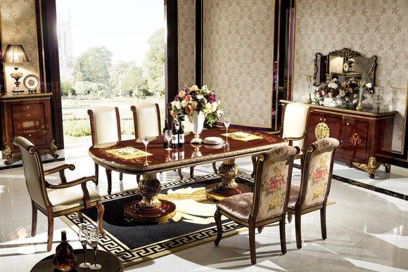 4 Stühle Set Esszimmer Designer Holz Stuhl Garnitur Antik Stil Barock Rokoko E63