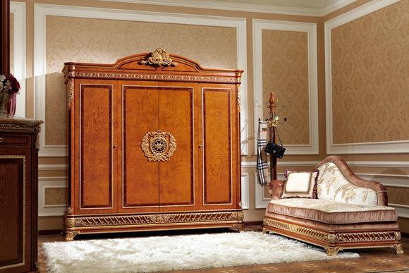 Kleiderschrank Schlafzimmer Holz Schrank Barock Rokoko Schränke 4türig XXL  E62