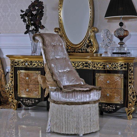 1x Stuhl Tron Sessel Set E61 Esszimmer Designer Holz Antik Stil Barock Rokoko