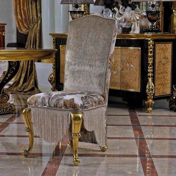 1x Stuhl Thron Sessel Set E61 Esszimmer Designer Holz Antik Stil Barock Rokoko