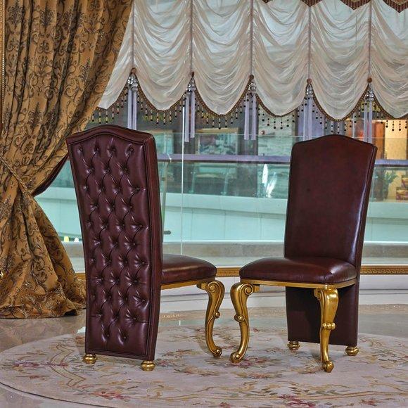 1x Stuhl Tron Sessel Set Esszimmer Designer Holz Antik Stil Barock Rokoko E61