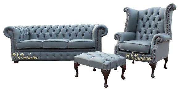 3 Sitzer Couch Ledersofa Chesterfiield + Ohrensessel Hocker 3 tlg. Sofagarnitur