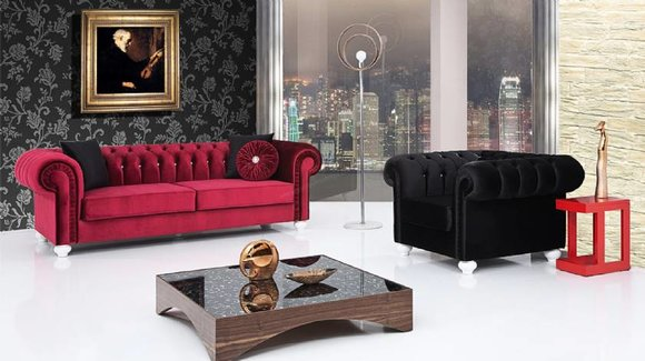 2 tlg. Sofagarnitur 3+1 Sitzer Couch Ledersofa Chesterfiield Textil Samt Sofa