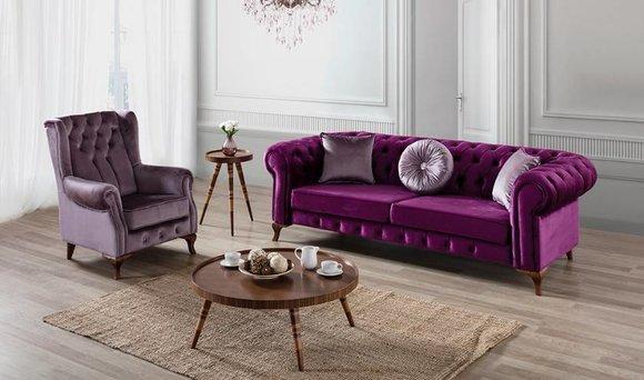 3+1 Sitzer Couch Polster Garnitur Chesterfield Samt Couchen Sofa Textil Sofas