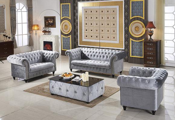 3+2+1 Sofagarnitur Samt Stoff Couchen Polster Garnitur Sofas Couch Designer
