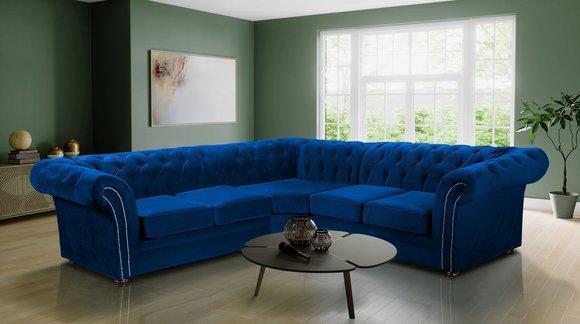 Chesterfield Xxl Big Ecksofa Top Qualitat Textil Stoff Samt Blau Wohnzimmer Polster Couch Garnitur Bei Jv Mobel