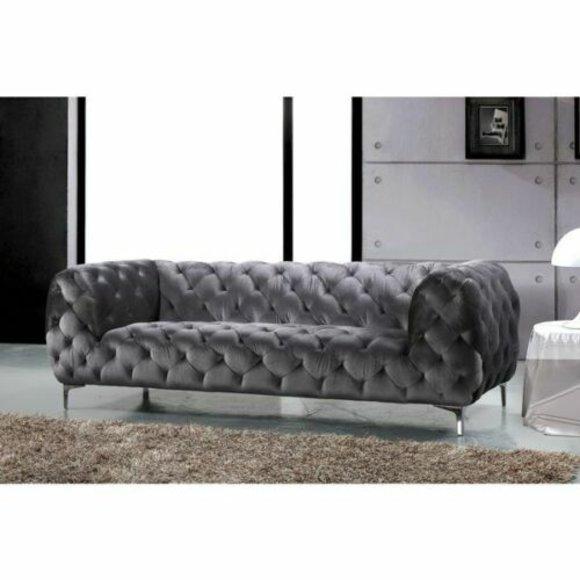 Chesterfield Samt Sofa 3 Sitzer Grau Designer Couchen Couch Stoff Polster Textil