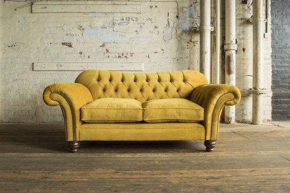 Stoff Sofas Classic Polser Möbel Sofa 2 Sitzer Chesterfield Gelb Neu Textil  Neu