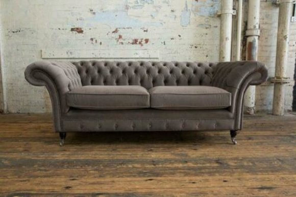 Chesterfield Couch Samt Textil Stoff Designer Sofa Möbel Edles Design 3  Sitzer