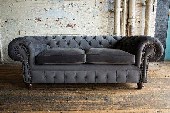 Cheserfield Samt Sofa 3 Sitzer Designer Couchen Couch Textil Stoff Polster Grau