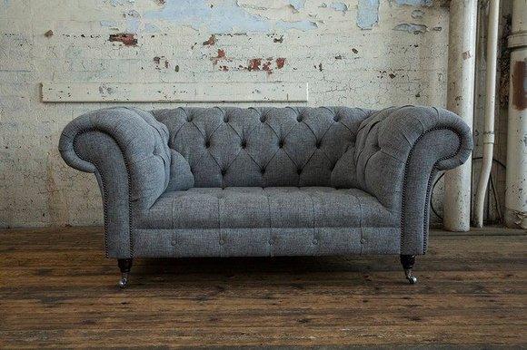 2 Sitzer Couch Chesterfield Leder Polster Sofa Couchen Sofas Designer Neu Textil