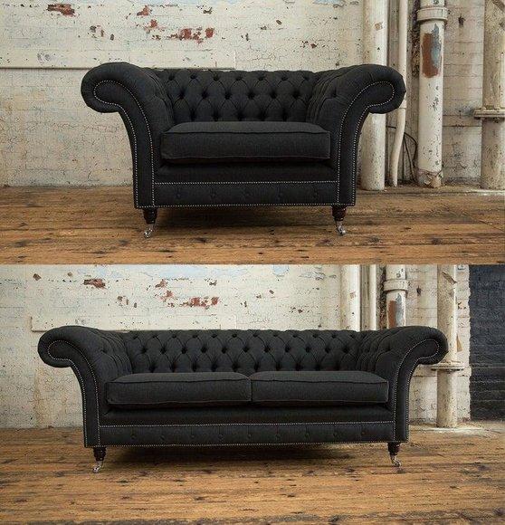 3+1 Sitzer Edle Designer Chesterfield Couch Garnitur Textil Polster Leder Sofa