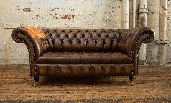 2 Sitzer Couch Chesterfield Leder Textil Polster Sofa Couchen Sofas Designer Neu