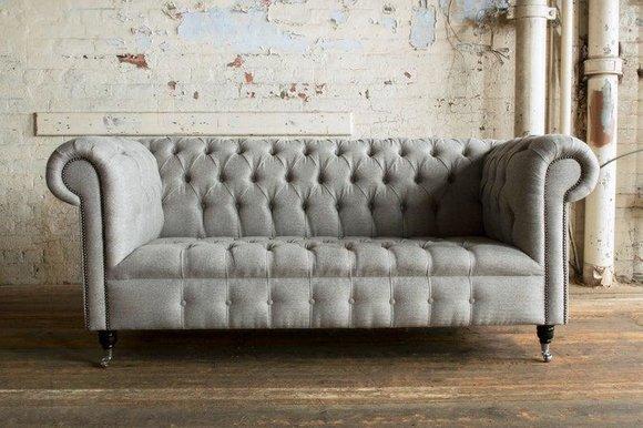 Edle Möbel Wohnzimmer Couch Leder Sofa Polster Chesterfield Graue 3 Sitzer  Neu