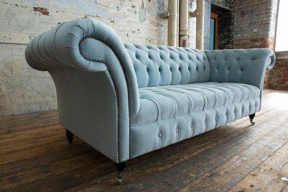 3 Sitzer Chesterfield Couch Sitz Textil Stoff Leder Couchen Sofas Sofa Polster