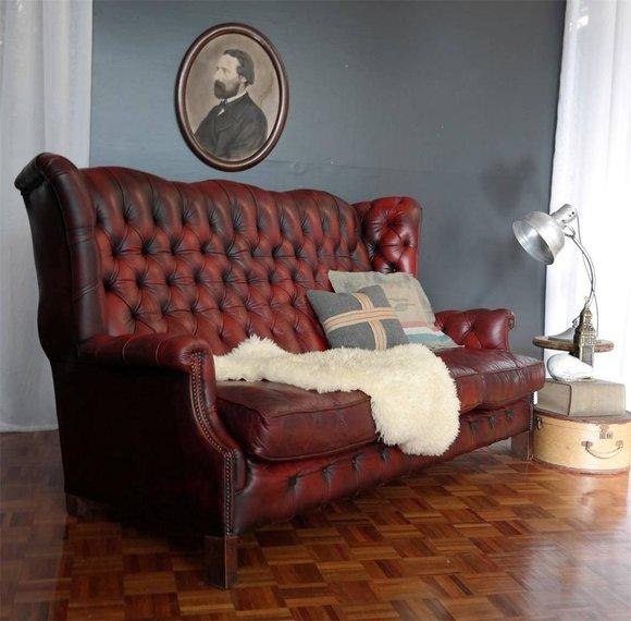 Hochwertiges Chesterfield 3 Sitzer Sofa Hohe Ruckenlehne Luxus Klasse Designer Stil Premium Leder Braun Polster Couch Garnitur Bei Jv Mobel