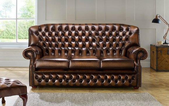 CHESTERFIELD Klassisches 3-Sitzer Sofa Premium Klasse ...
