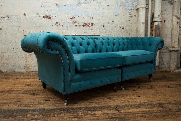 3 Sitzer 210cm Luxus Bank Sofa Couch Turkis Wohnzimmer Kanzlei Möbel Sofas Neu