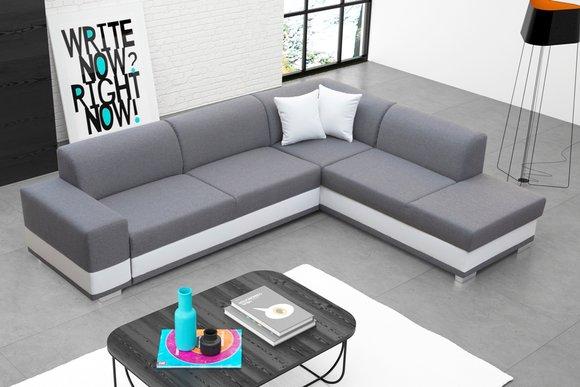 Polstersofa Loungesofa Couch Sitzgruppe Wohnzimmer Mit Kissen Sofa L Form Grau