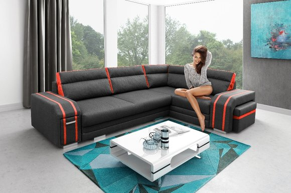 Polstersofa Loungesofa Couch Sitzgruppe Wohnzimmer Kissen Sofa Ecksofa  Schlaf