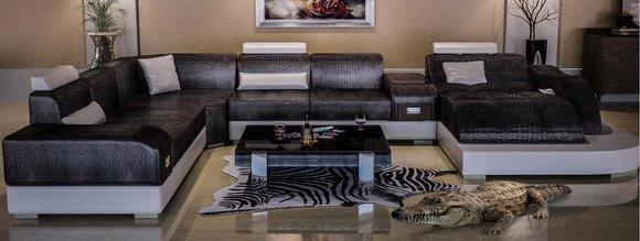 Krokodil Stil Leder Stilvolle Designer Luxus Wohnlandschaft Couchen Ecksofa Neu