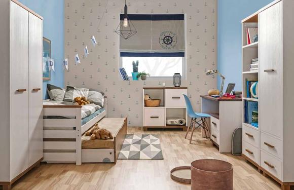 Jugendzimmer Kinderzimmer komplett Set Jugendbett Schreibtisch Schrank weiß NEU