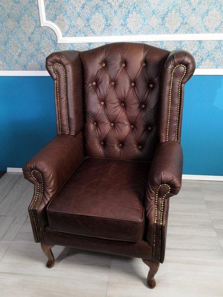 Echter Leder Chesterfield Ohrensessel Sessel Couch Sofa Polster Sitz Antik Neu