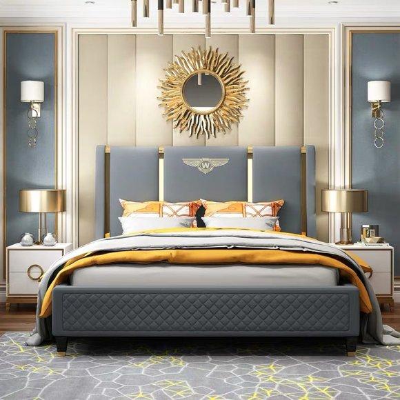 Bett Polster Design Luxus Doppel Hotel Betten Ehe Schlaf Zimmer Leder 180x200cm