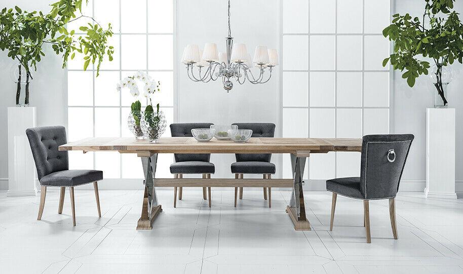 Designer Esstisch Esszimmer + 6 Stühlen Gruppe Stuhl Tische