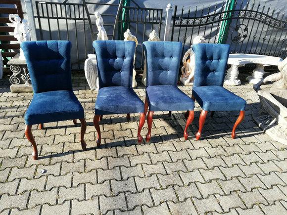 Esszimmer 4x Stuhl Set Stühle Garnitur Polster Lehn Wohnzimmer Holz SAMT NEU