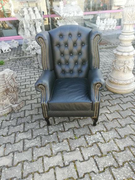 Sessel Ohrensessel Chestefield Stuhl Sitz Polster Couch Lounge Echt Leder Sofort
